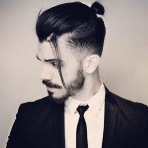 Man-Bun-Haircut-Fade-with-Cool-Beard